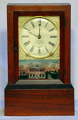 Unusual rosewood eight day time and strike mantel clock made by the Connecticut Clock Company, New York City, 1855