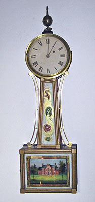 Mahogany and gilt front patent timepiece, Massachusetts circa 1830