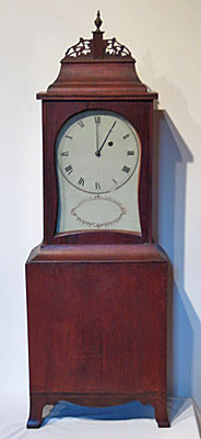 Fine cherry kidney dial shelf clock attributed to William Fitz